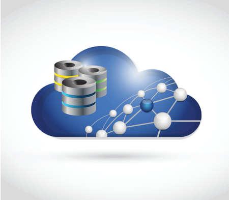 wireless lan: cloud link network and servers illustration design over a white background Illustration