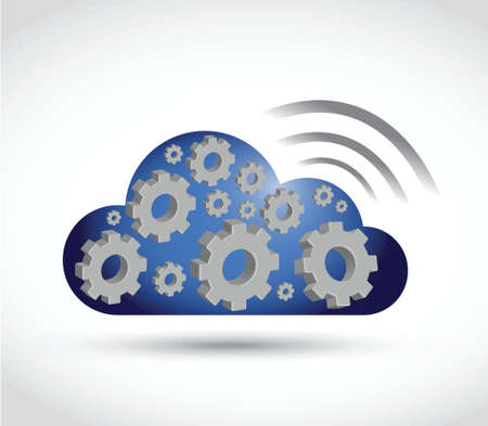 centralized: cloud gears and wifi signal sign illustration design over a white background