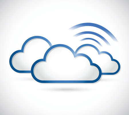 web feed: clouds and wifi signal sign illustration design over a white background Illustration