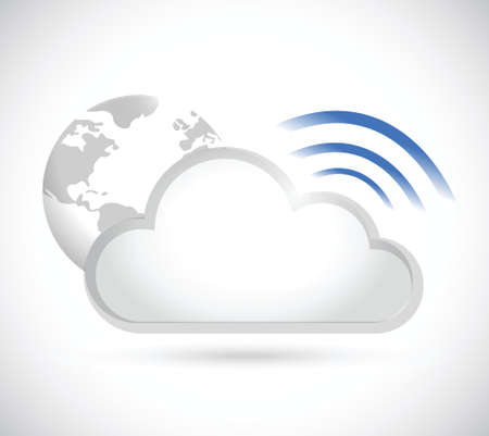 geography: clouds and wifi signal sign illustration design over a white background Illustration