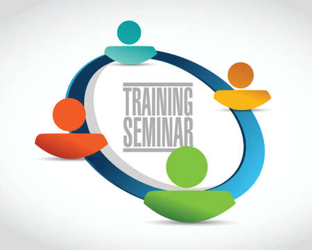 workshop seminar: training seminar people network illustration design over a white background Illustration