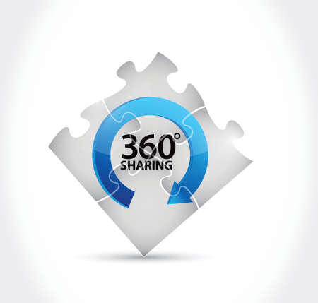 feedback: 360 sharing puzzle pieces illustration design over a white background