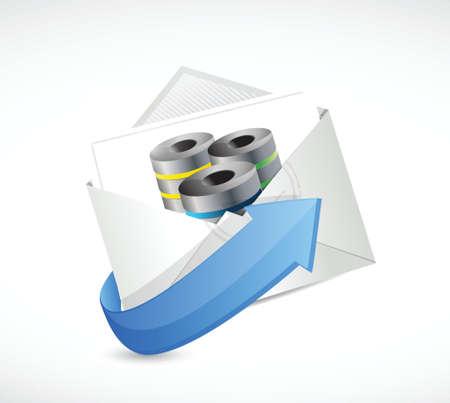 白色の背景上のエンベロープ サーバー イラスト デザイン