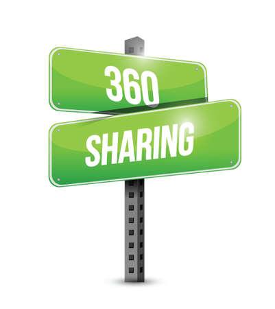 feedback: 360 sharing road sign illustration design over a white background Illustration