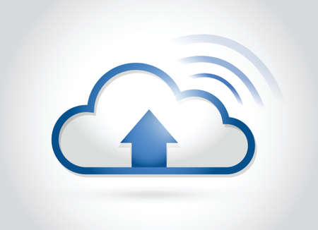 cloud arrow and wifi signal message illustration design over a white background Vector