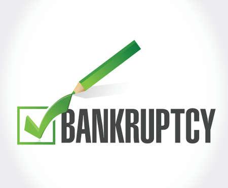 moneyless: bankruptcy check mark selection illustration design over a white background