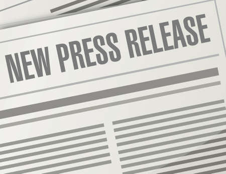 press release: new press release illustration design over a newspaper background
