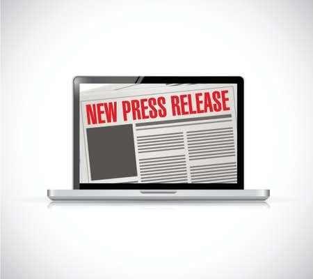 newspaper headline: new press release computer news illustration design over a white background Illustration