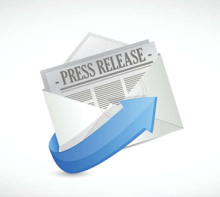 press release email illustration design over a white background