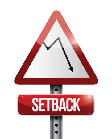 setback: falling graph warning sign setback illustration design over a white background Illustration