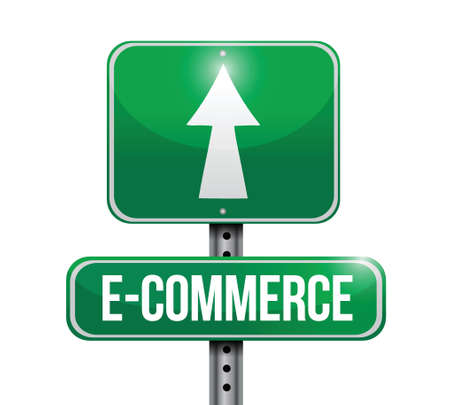 commerce: e commerce road sign illustration design over a white background Illustration