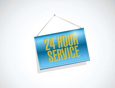 hanging banner: 24 hour service hanging banner illustration design over a white background