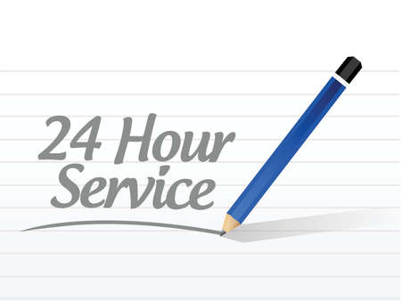 customer service phone: 24 hour service message illustration design over a white background