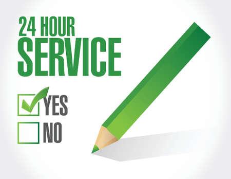 24 hour service check list illustration design over a white background