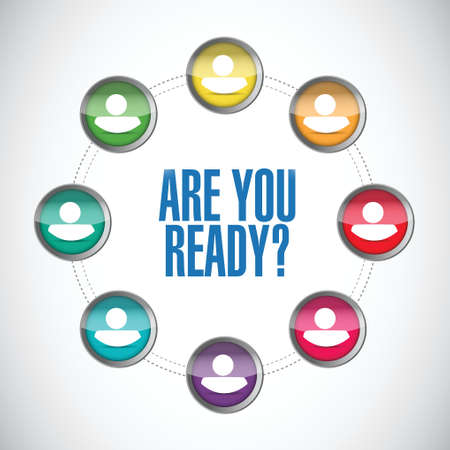 prepare: are you ready people message illustration design over a white background
