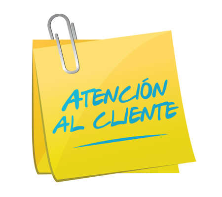 Customer Service post in spanish illustration design over a white background