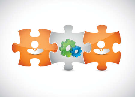 resourceful: puzzle pieces gear and people illustration design over a white background