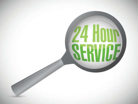 24 hour service under magnify glass illustration design over a white background