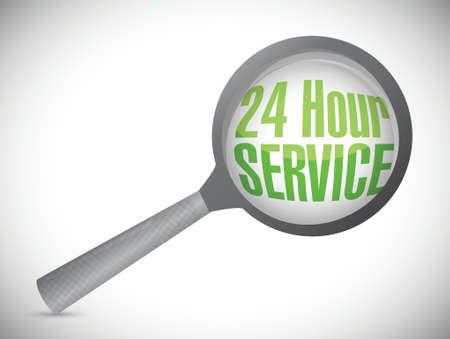 24 hour: 24 hour service under magnify glass illustration design over a white background