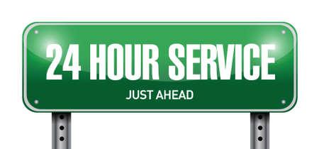 24 hour service street sign illustration design over a white background Ilustração