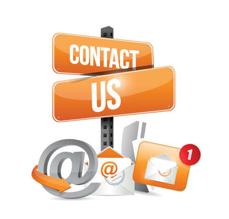 orange contact us sign and icons illustration design over a white background Illustration