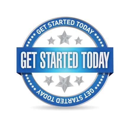 get started today seal illustration design over a white background