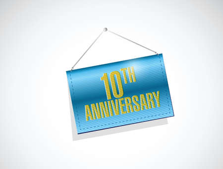 20th anniversary hanging sign illustration design over a white background