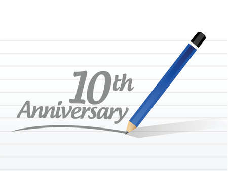 10th: 10th anniversary message sign illustration design over a white background Illustration