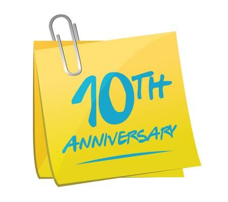 10th: 10th anniversary memo post illustration design over a white background