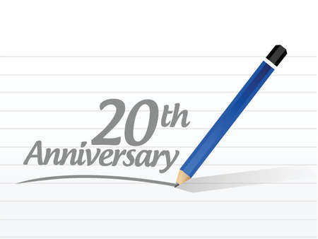 20th: 20th anniversary message sign illustration design over a white background