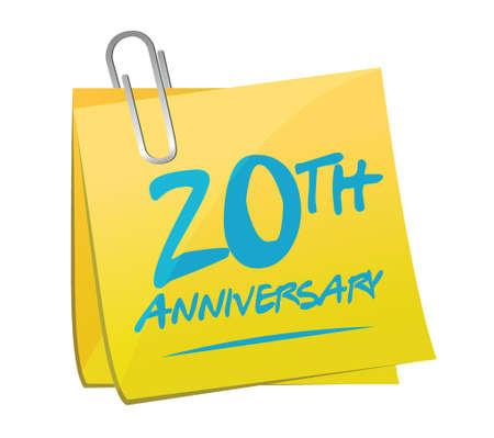 20th: 20th anniversary memo post illustration design over a white background
