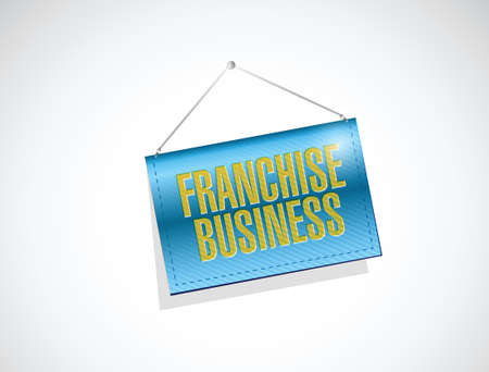 hanging banner: franchise business hanging banner illustration design over a white background