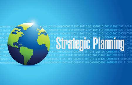 planning process: strategic planning globe illustration design over a blue binary background