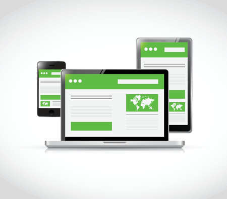 responsive design: responsive technology illustration design over a white background