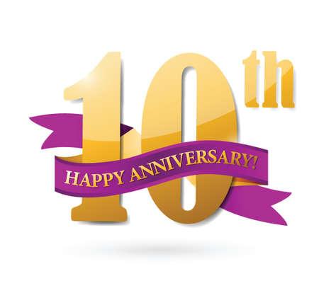 10th: 10th anniversary ribbon illustration design over a white background Illustration