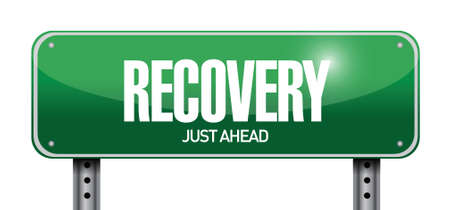 recession: recovery road sign illustration design over a white background Illustration