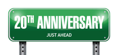 20th: 20th anniversary road sign illustration design over a white background
