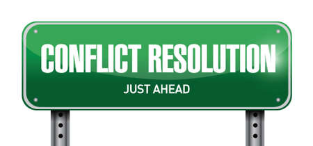 resolution: conflict resolution road sign illustration design over a white background