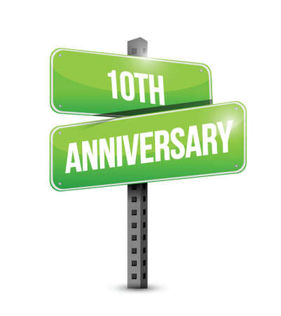 10th: 10th anniversary road sign illustration design over a white background