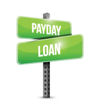easy money: payday loan street sign illustration design over a white background