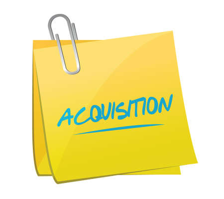 acquisition: acquisition memo post illustration design over a white background