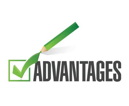 vantaggi controllare lista design illustrazione su uno sfondo bianco