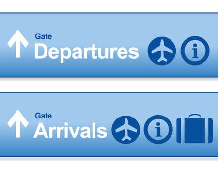 departures: blue Arrival and departures airport signs isolated over a white background. Illustration