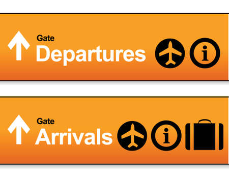 departures: orange Arrival and departures airport signs isolated over a white background.