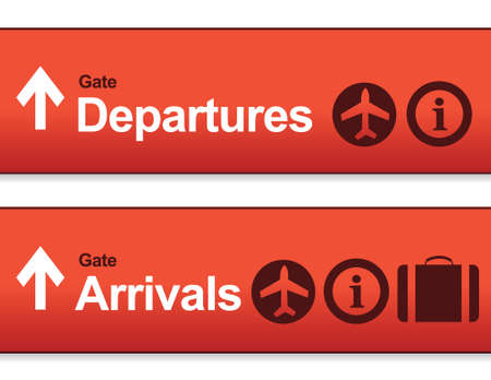 departures: red Arrival and departures airport signs isolated over a white background.