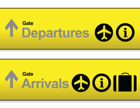 departures: yellow Arrival and departures airport signs isolated over a white background. Illustration