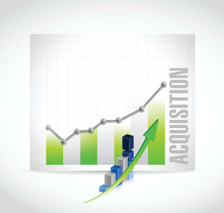 takeover: acquisition business graph illustration design over a white background