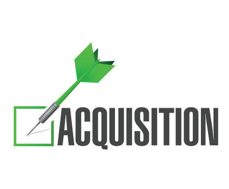 acquiring: acquisition approval check dart illustration design over a white background
