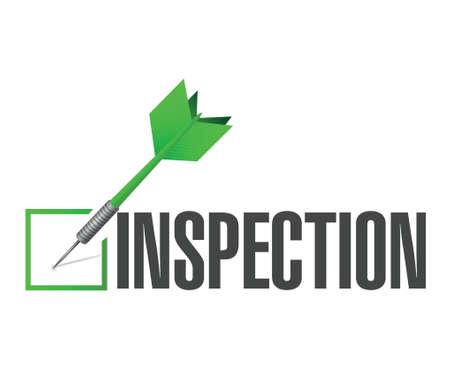 inspeccion: aprobaci�n inspecci�n ilustraci�n cheque dardo dise�o sobre un fondo blanco