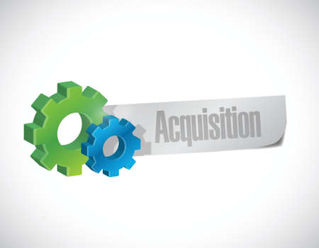 takeover: acquisition gear sign illustration design over a white background
